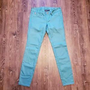 ARMANI AX LUX COATED MUTED TEAL GREEN JEANS SZ 2